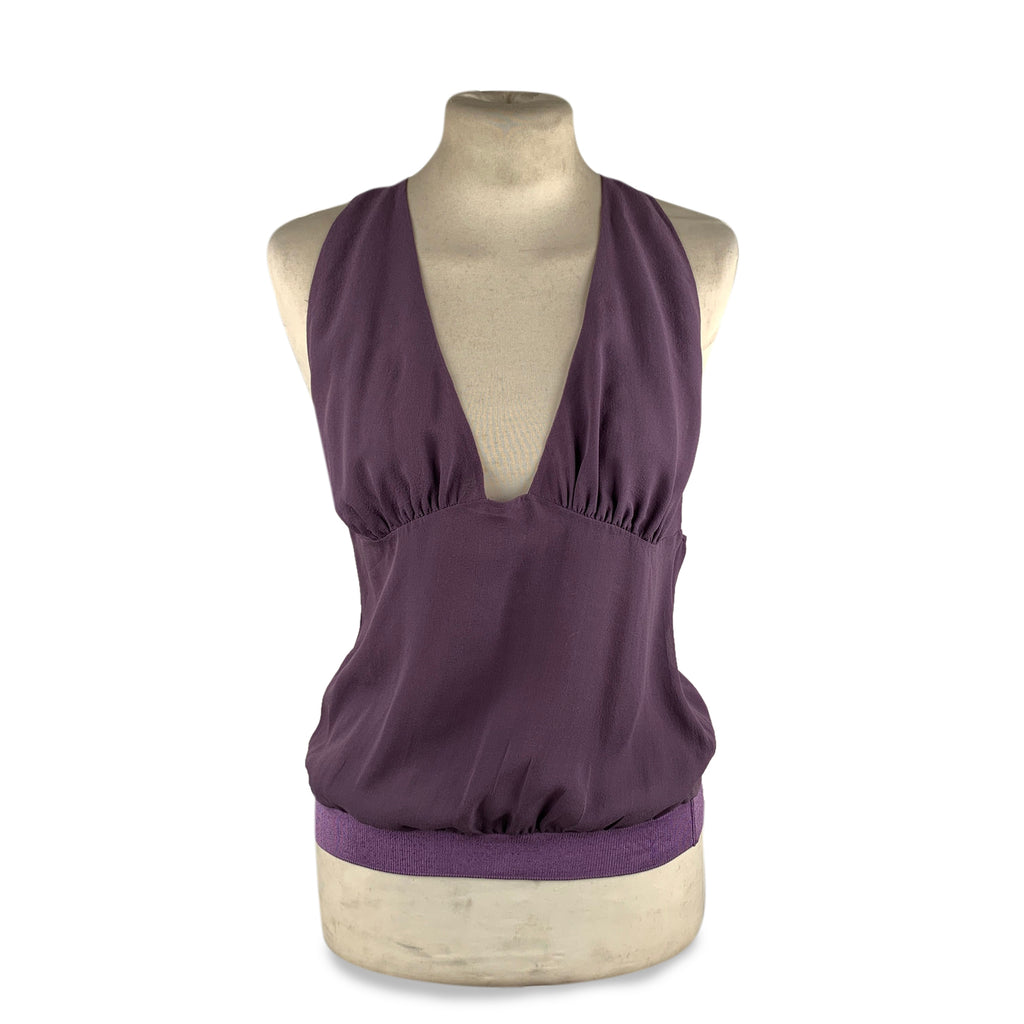 Costume National Purple Silk Halterneck Top V Neck Size 44