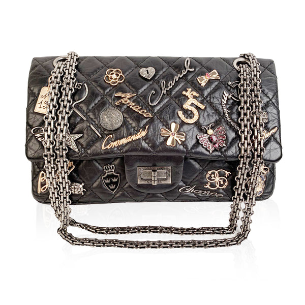 Chanel Black Quilted Leather Lucky Charms 2.55 Reissue Flap Bag