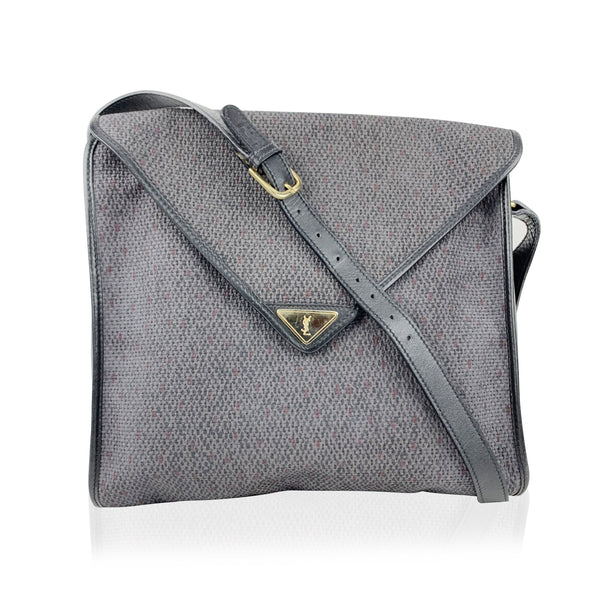 Yves Saint Laurent Vintage Grey Textured Canvas Crossbody Bag