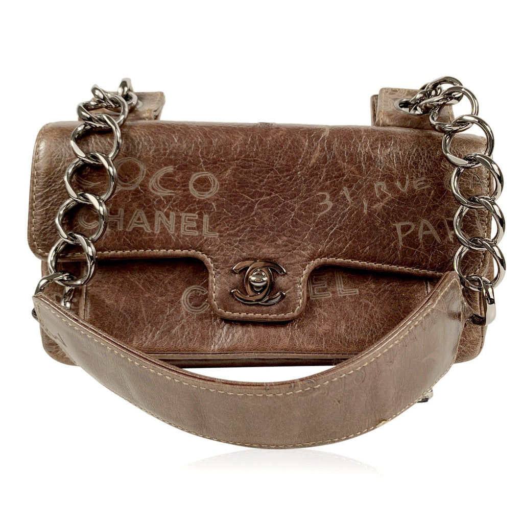 Chanel Brown Distressed Leather Graffiti Mademoiselle Shoulder Bag