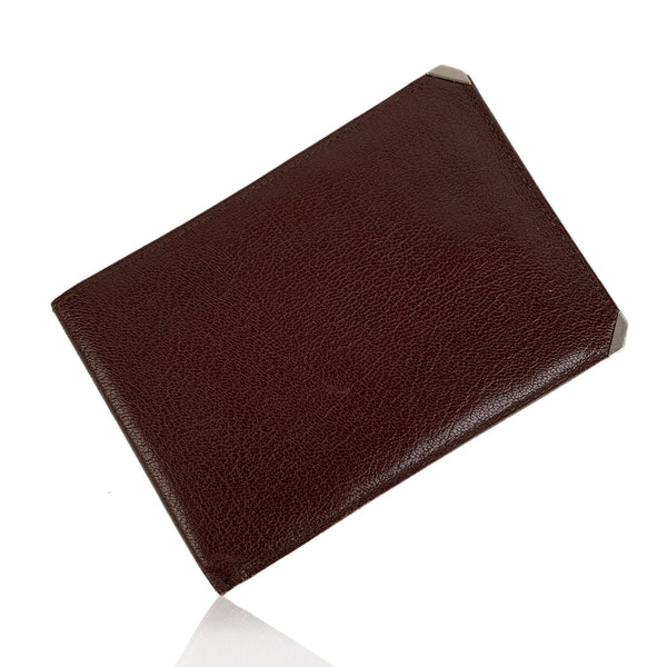 Valextra Vintage Brown Leather Bifold Wallet Checkbook Holder