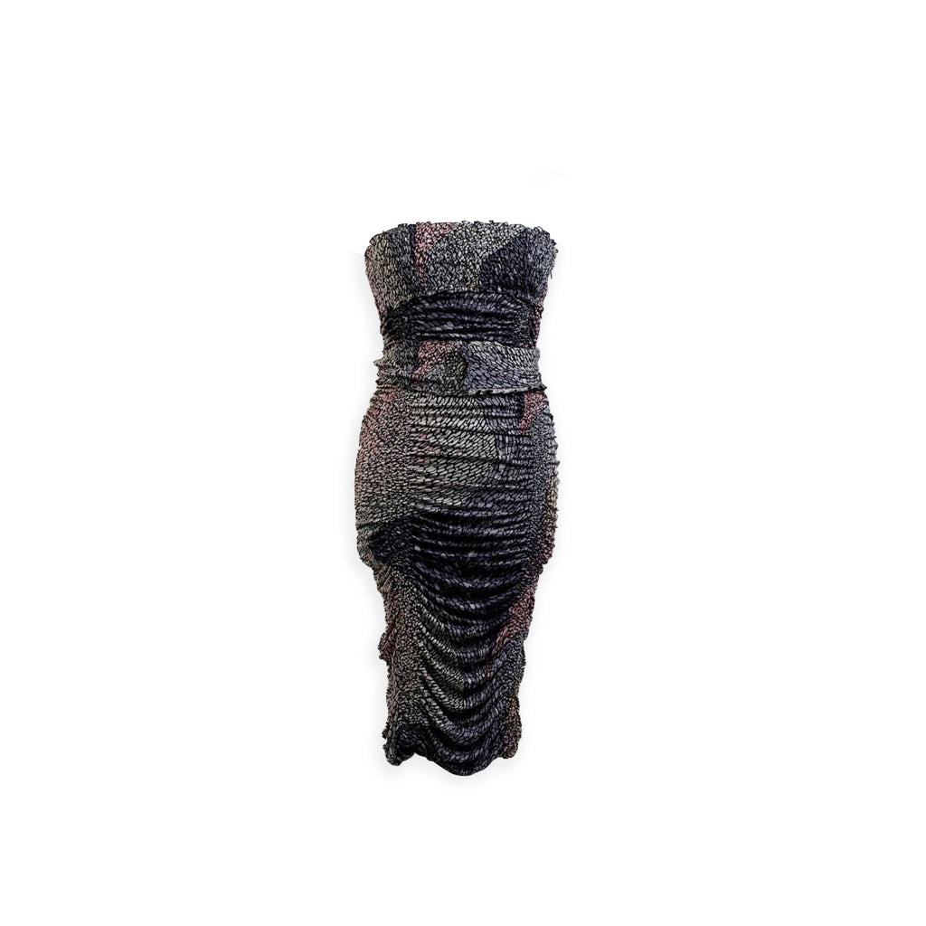 Missoni Gray Silk Ruched Bustier Pencil Dress Size 40 IT