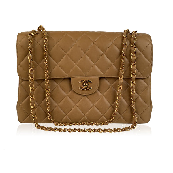 Chanel Vintage Beige Quilted Leather Double Face Shoulder Bag