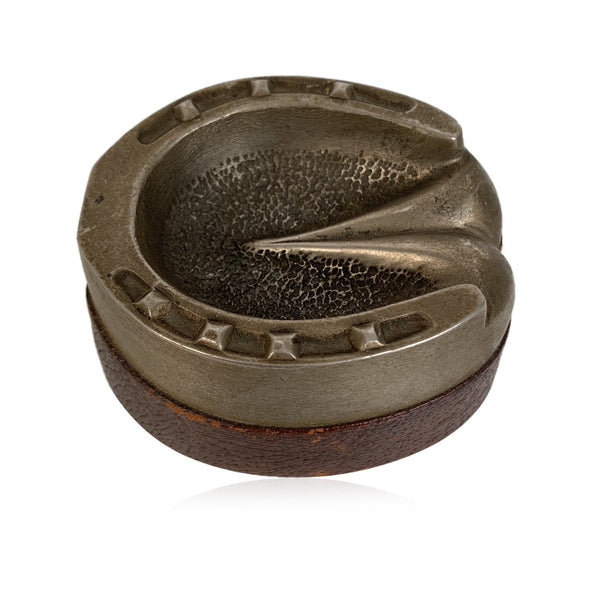 Gucci Vintage Metal and Leather Horse Hoof Ashtray