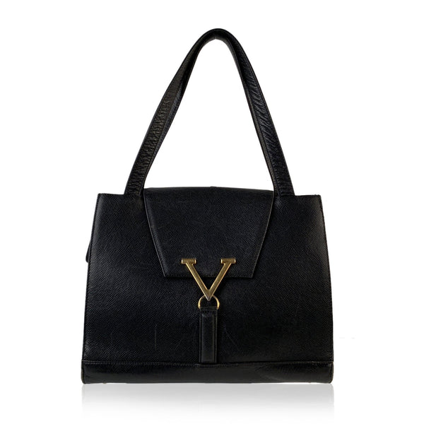 Valentino  Vintage Black Leather Satchel Shoulder Bag