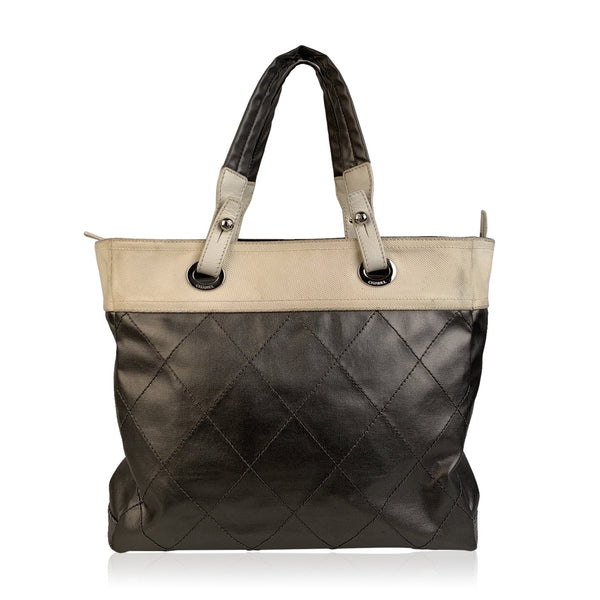 Chanel Gray Metallic Quilted Canvas Paris Biarritz Tote Bag