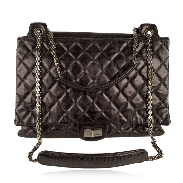 Chanel Black Quilted Leather Large Reissue 2.55 Accordion Flap Bag