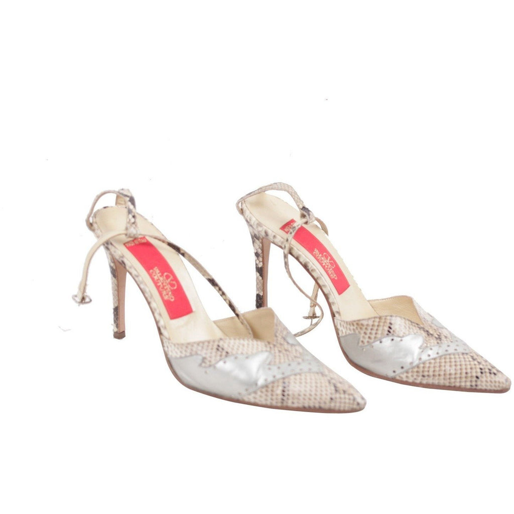 Valentino Vintage Beige Snakeskin Leather Pumps Heels 37.5