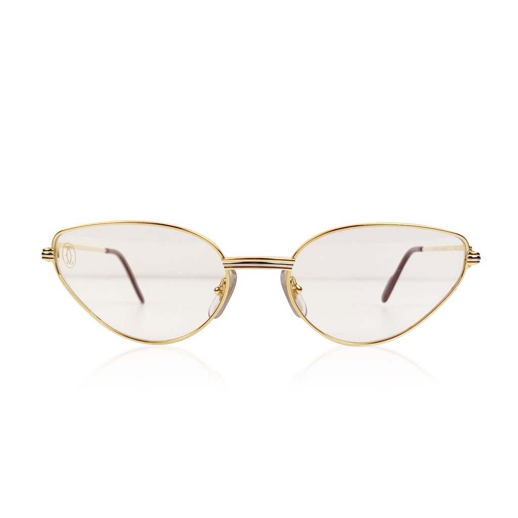 Cartier Paris Mint Cat-Eye Gold Eyeglasses Mod. Rivoli 56-19 135mm