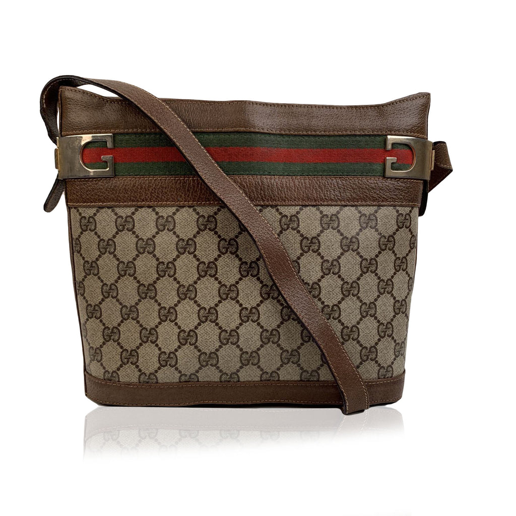Gucci Vintage Beige Monogram Canvas Bucket Shoulder Bag
