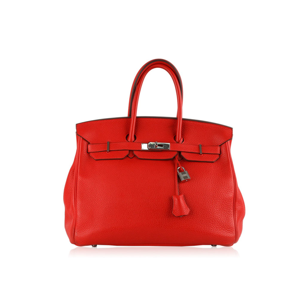 Hermes Hermes Red Togo Leather Birkin 35 Top Handle Bag Satchel Handbag
