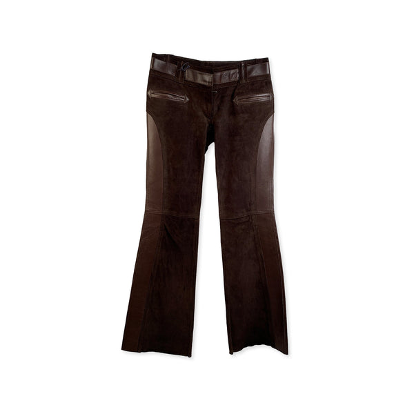 Dolce & Gabbana Brown Suede and Leather Pants Trousers - OPHERTY & CIOCCI