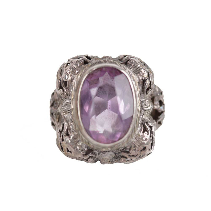 Unbranded Vintage Silver Cocktail Amethyst Ring