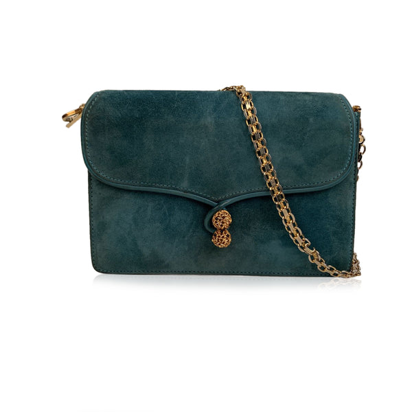 Gucci Vintage Turquoise Suede Evening Shoulder Bag with Chain