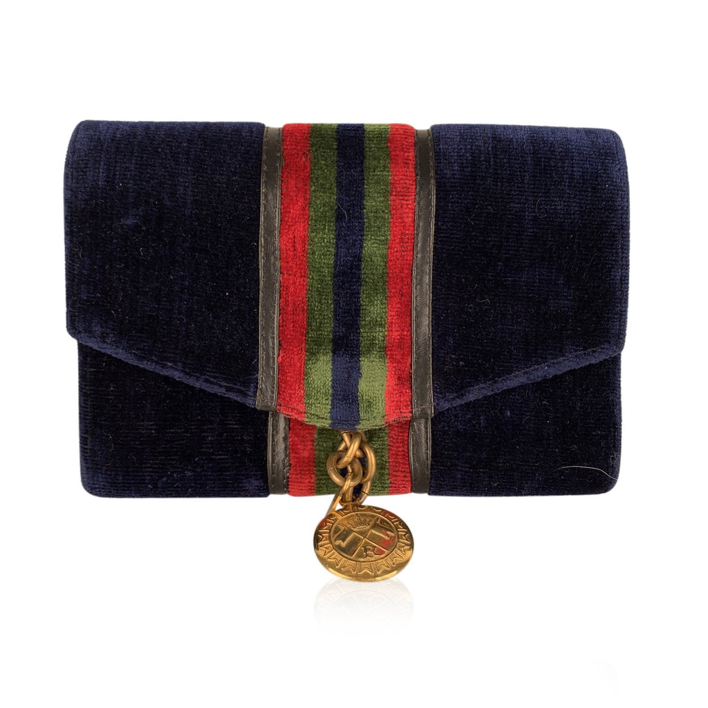 Roberta Di Camerino Vintage Blue Velvet Leather Jewelry Purse Pouch - OPHERTY & CIOCCI