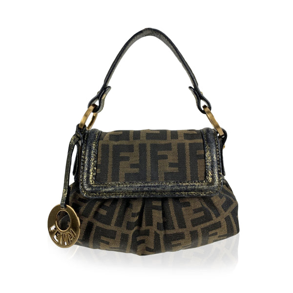 Fendi Brown Zucca Monogram Canvas Mini Chef Bag Handbag Purse