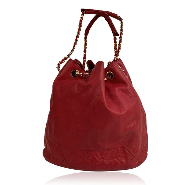 Chanel Vintage Red Leather Bucket Shoulder Bag with Bottom Quilting