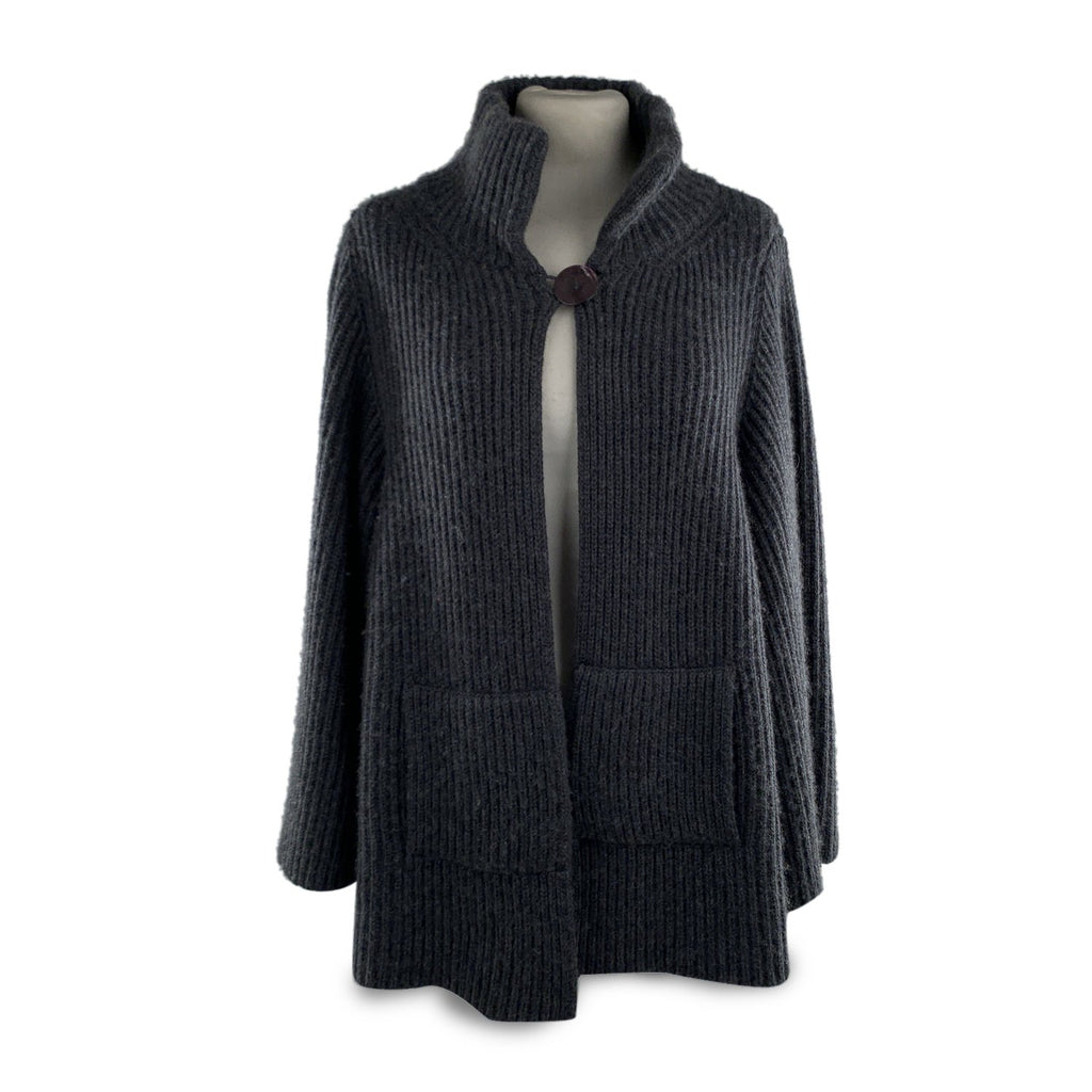 Nobili Milano Nobili Gray Ribbed Cashmere and Cotton Knit Jacket Cardigan