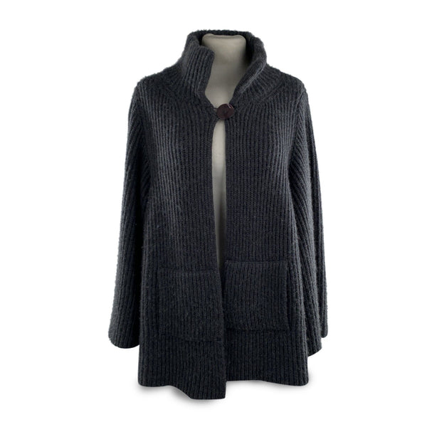 Nobili Milano Nobili Gray Ribbed Cashmere and Cotton Knit Jacket Cardigan - OPHERTY & CIOCCI