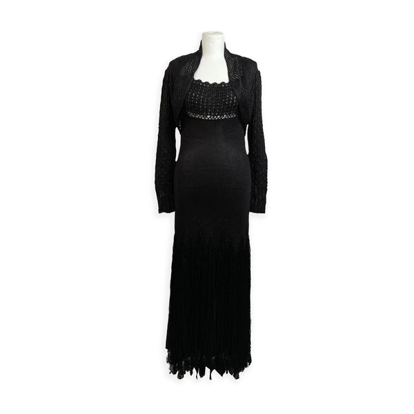 Christian Lacroix Black Light Weight Knit Maxi Dress with Jacket