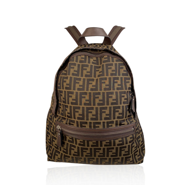 Fendi Tobacco Zucca Canvas Backpack Shoulder Bag