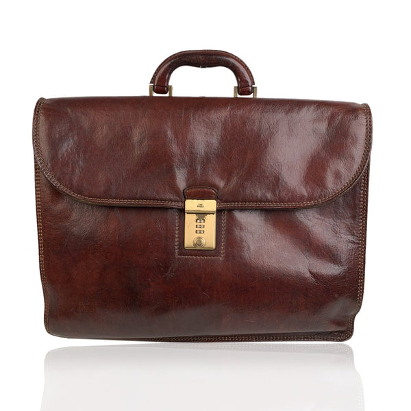 The Bridge Vintage Brown Leather Briefcase Work Business Bag