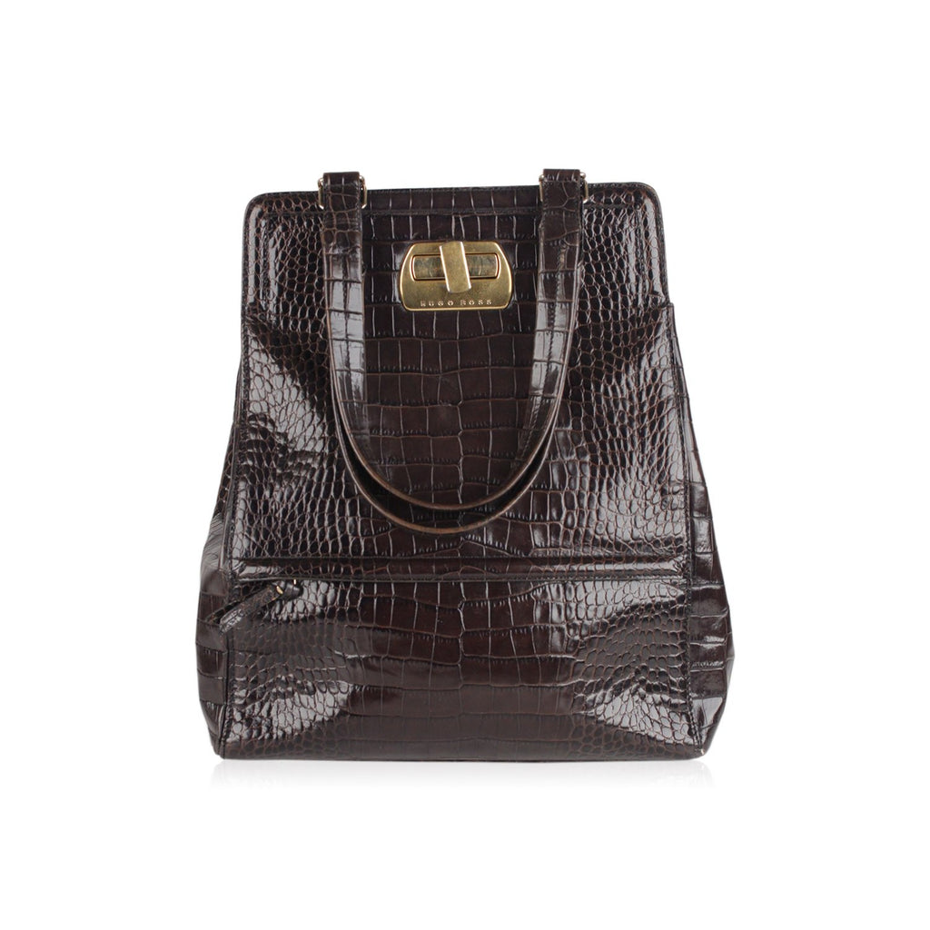 Embossed Croc Look Tote Bag