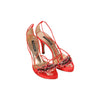 SERGIO ROSSI Red Satin SANDALS Shoes HEELS w/ BEADING Size 36