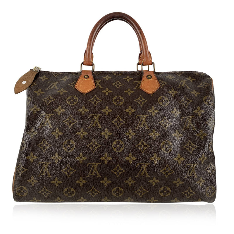 Louis Vuitton Vintage Brown Monogram Canvas Bag Speedy 35 Handbag