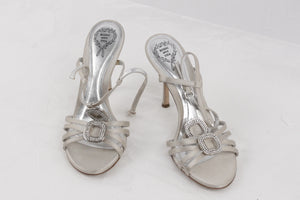 RODO Gray Satin EMBELLISHED Sandals HEELS Pumps SHOES Size 37