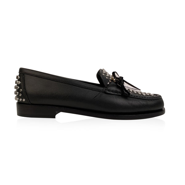 Salvatore Ferragamo Black Leather Rolo Studs Moccassins US 7C EU 37.5