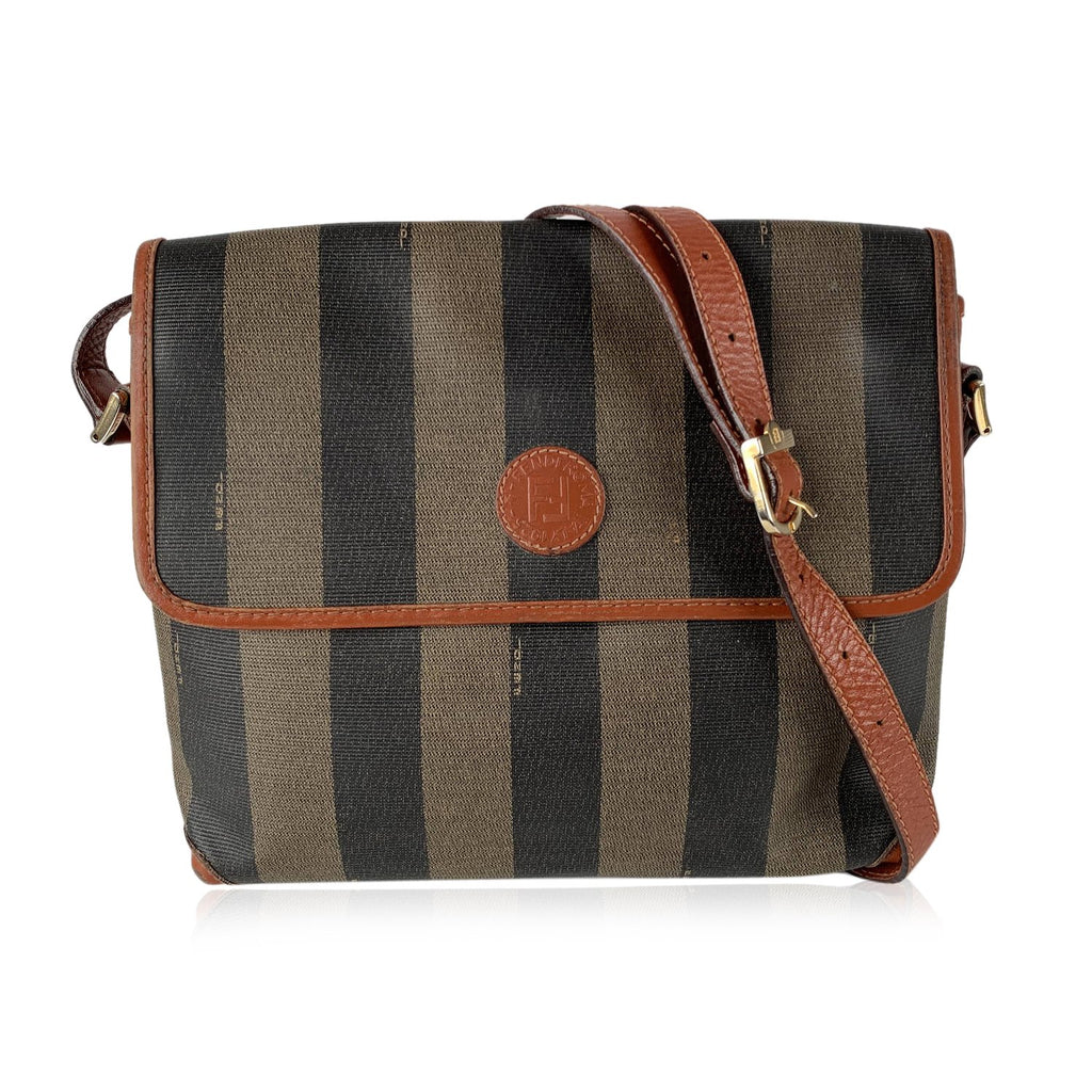 Fendi Vintage Pequin Striped Vinyl Canvas Messenger Crossbody Bag