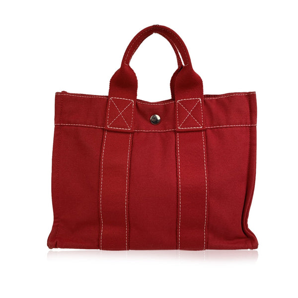Hermes Paris Vintage Red Cotton Deauville PM Tote Bag