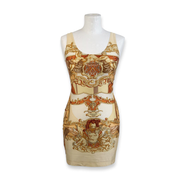 Hermes Paris Vintage Lycra Baroque Bodycon Dress Size 40