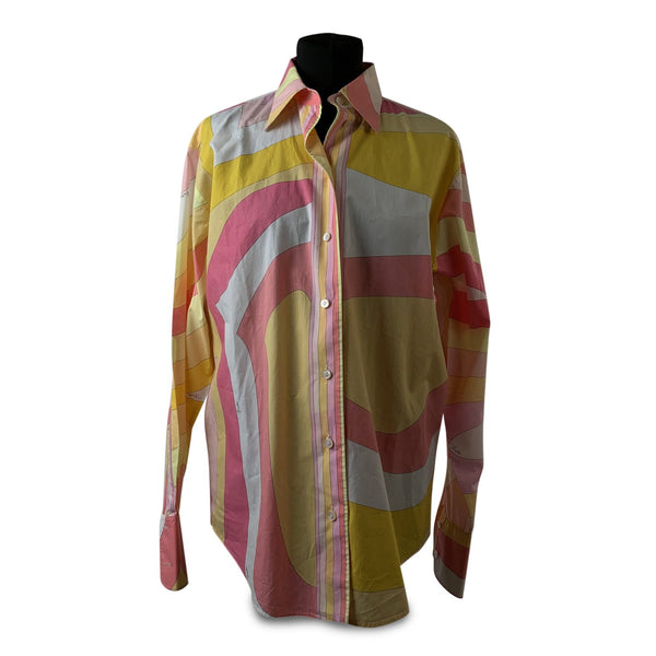Emilio Pucci Vintage Iconic Print Pink Yellow Cotton Button Down Shirt