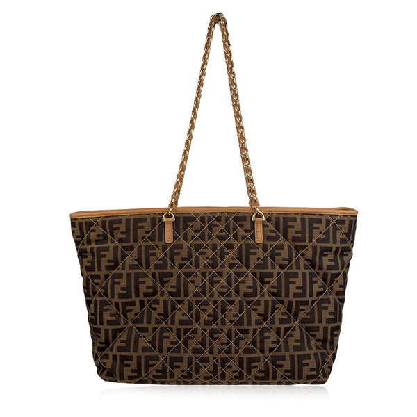 Fendi Zucca Monogram Canvas Quilted Roll Tote Bag Shopper