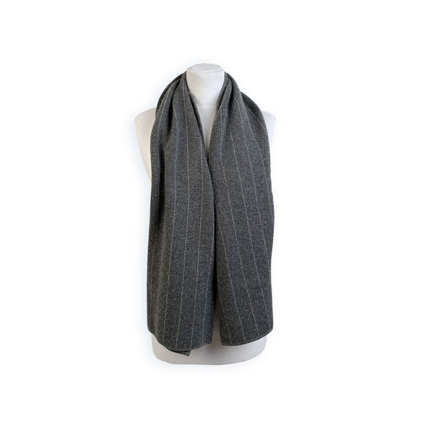 Loro Piana Vintage Gray Striped Cashmere >Reversible Scarf