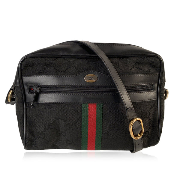 Gucci Vintage Black Monogram Canvas Ophidia Messenger Bag with Stripes