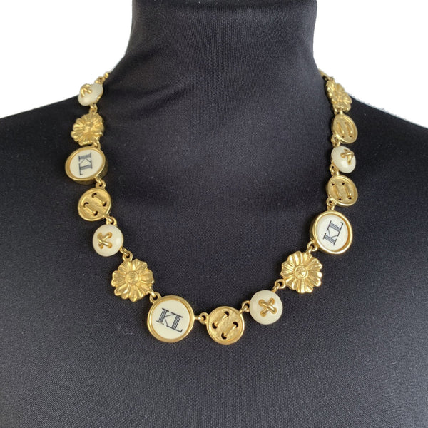 Karl Lagerfeld Vintage Gold Metal Necklace with Button Charms