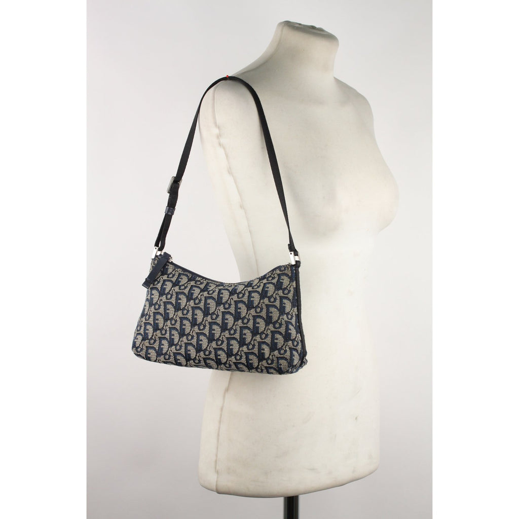 Christian Dior Logo Tapestry Canvas Shoulder Bag