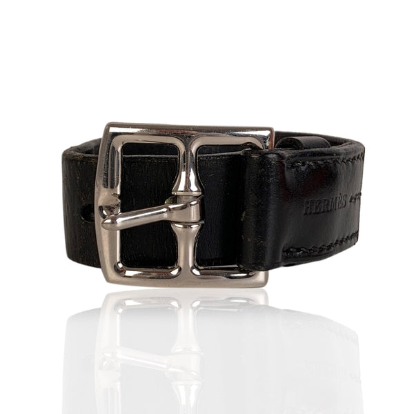 Hermes Black Leather Cuff Bracelet Etriviere Single Tour Palladium Buckle