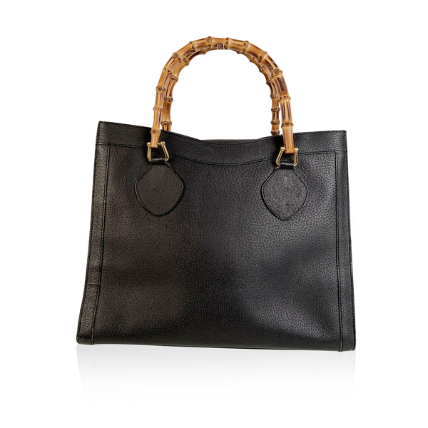 Gucci Vintage Black Leather Princess Diana Bamboo Tote