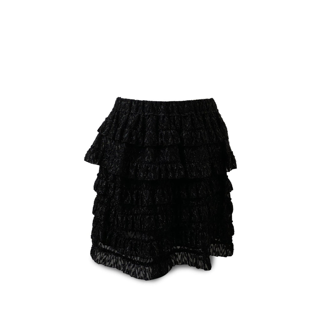 Isabel Marant Black Blair Metallic Fil Coupé Tiered Ruffle Skirt Size 38 - OPHERTY & CIOCCI