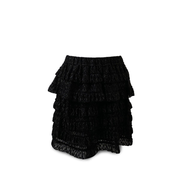 Isabel Marant Black Blair Metallic Fil Coupé Tiered Ruffle Skirt Size 38