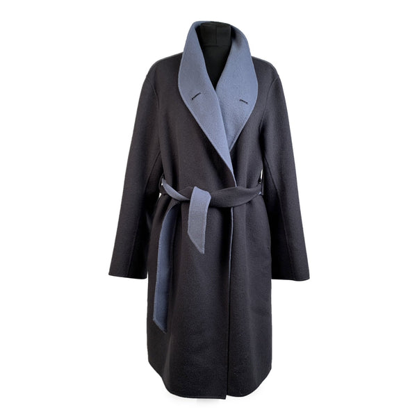 Emporio Armani Two-tone Wool and Cashmere Coat with Belt Size 44 - OPHERTY & CIOCCI