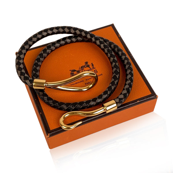 Hermes Bicolor Leather Golden Jumbo Hook Double Bracelet with Box