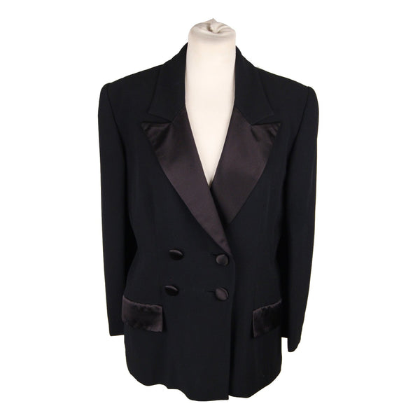Gai Mattiolo Black Double Breasted Blazer Jacket Size 44