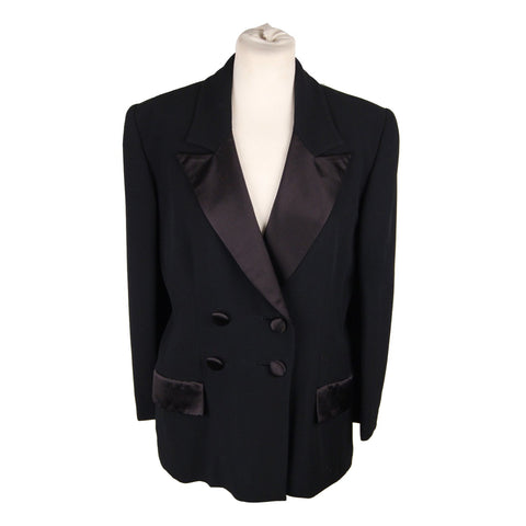 GUCCI Black DOUBLE-BRASTED BLAZER Jacket with Peplum Hem Size 42