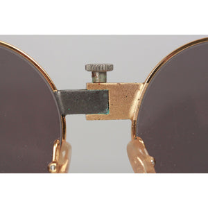 Vintage Rare Round Mint Sunglasses MTC 3 Gold Plated 24K 48mm