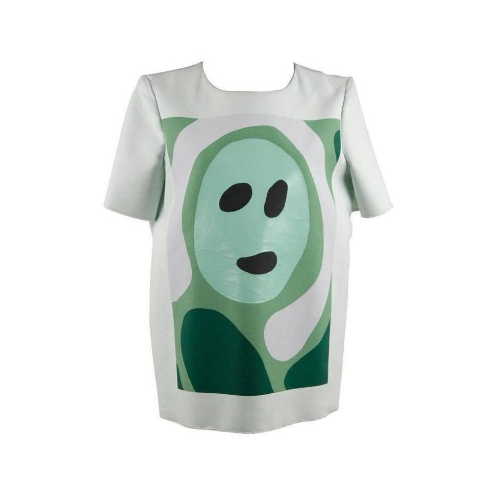 Marni Light Green Cotton Blend T Shirt Top Face Print Size 42
